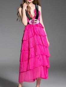 Hot Pink Deep V Backless Ruffle Long Dress