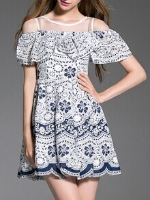 White and Blue Porcelain Ruffle A-Line Dress