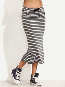 Grey Striped Drawstring Waist Pencil Skirt