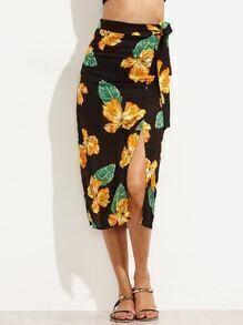 Black Random Flower Print Belted Slit Skirt