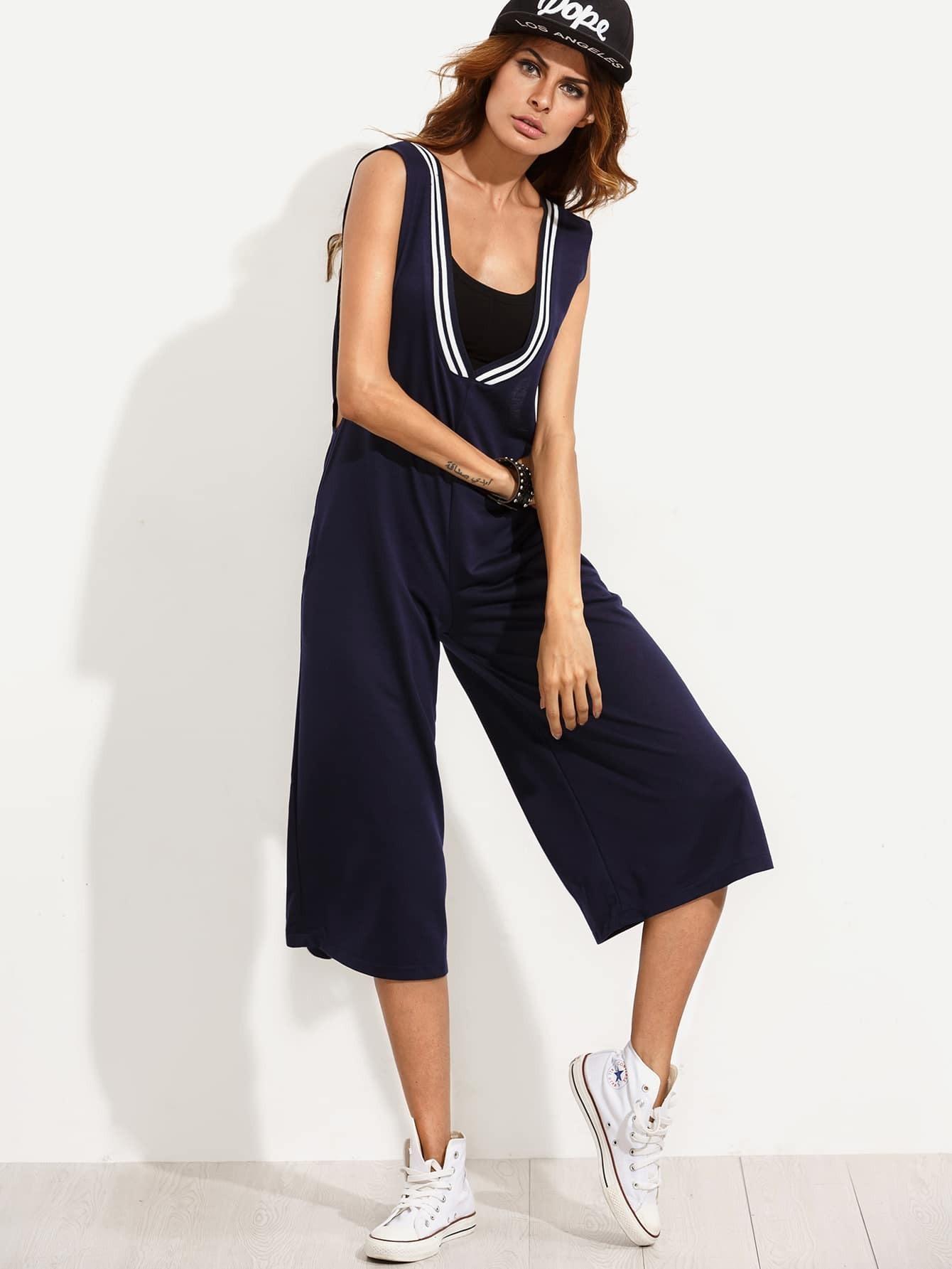 Combi pantalon bermuda en denim avec poches bleu marine french romwe - Combi pantalon bleu marine ...