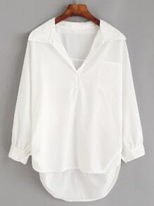 White Lapel High Low Pocket Blouse