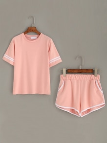 Pink Striped Trim Top With Contrast Trim Pockets Shorts