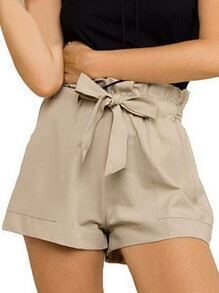 Khaki Ruffle Waist Belted Wide Leg Shorts