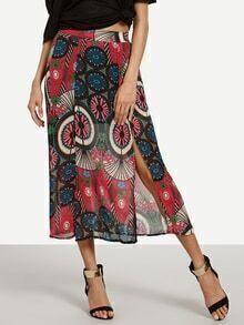 Multicolor Vintage Print Double Slit Chiffon Skirt