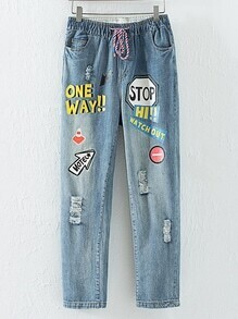 Blue Drawstring Waist Printed Ripped Jeans