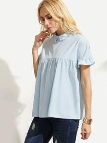 Blue Peter Pan Collar Button Back Blouse