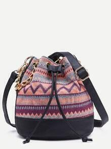 Pink Tribal Print Drawstring Bucket Bag With Chain