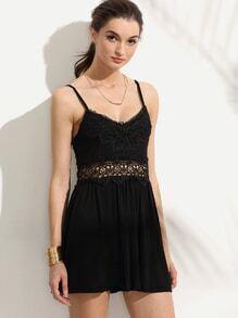 Black Lace Insert Hollow A-Line Dress