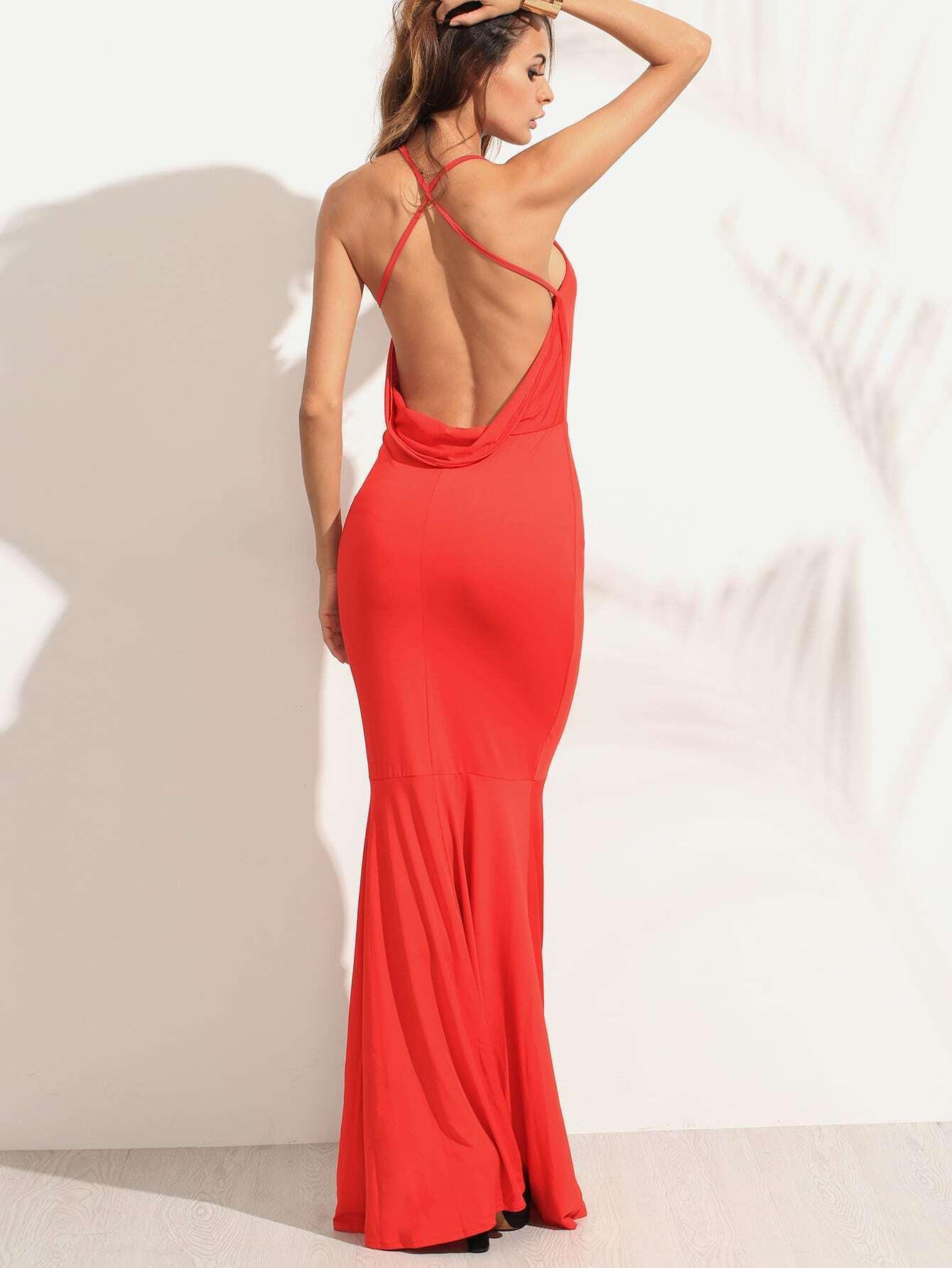 Robe fishtail crois au dos sans manche rouge french romwe for Interieur paupiere inferieure rouge