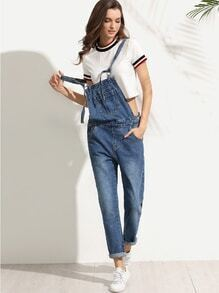 Straps Pocket Denim Overall Pants