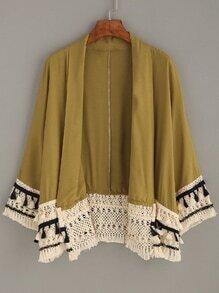 Yellow Tassel Trimmed Kimono