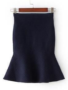 Navy High Waist Fishtail Skirt