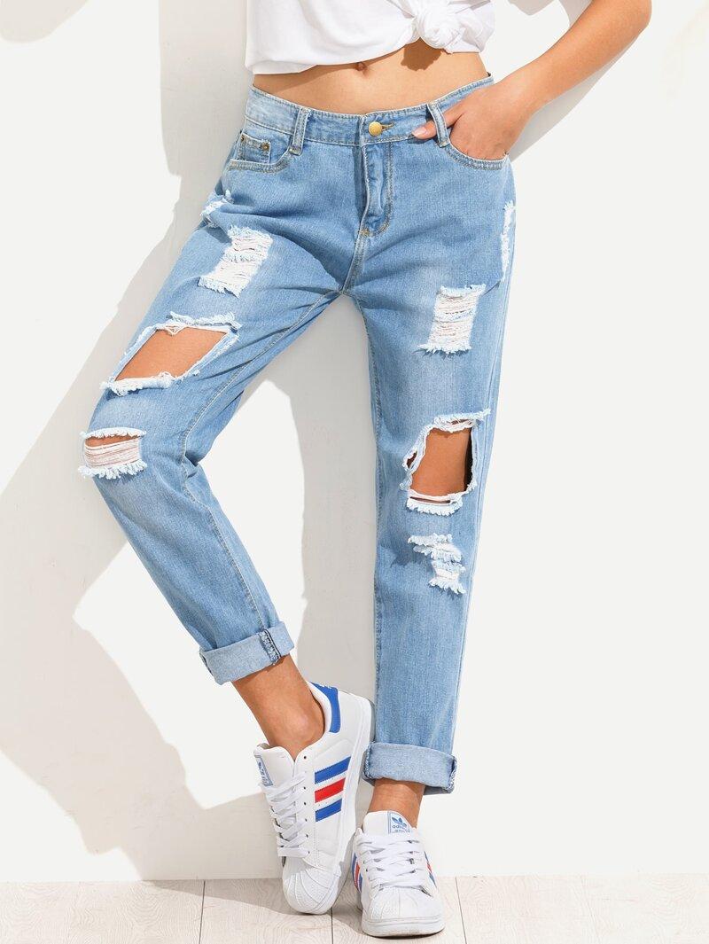 8b0f2214c Blue Distressed Boyfriend Jeans