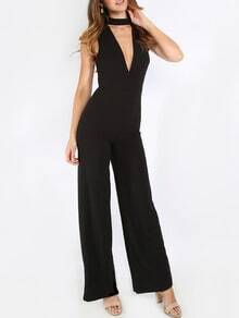 Black Sleeveless V Neck Jumpsuit