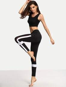 Black White Stretchy Sport Long Pants