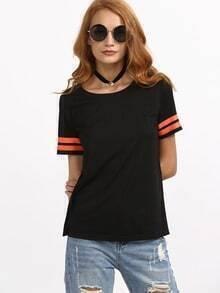 Black Short Sleeve Striped Cuff T-shirt