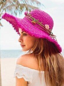 Hot Pink Flower Trim Large Brimmed Hat