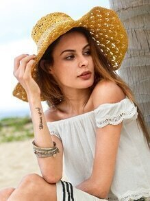 Yellow Vacation Crochet Large Brimmed Hat