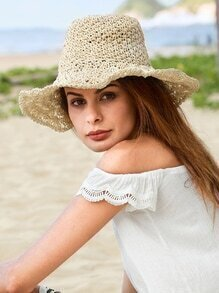 Beige Vacation Large Brimmed Straw Hat