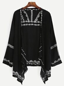 Black Embroidered Asymmetrical Kimono