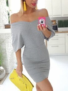 Grey Off The Shoulder Dolman Sleeve Bodycon Dress