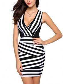 Black White Mixed Stripe Deep V Neck Bodycon Dress