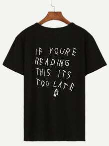 Black Sentence Print Drop Shoulder T-shirt