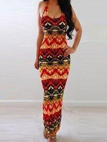 Multicolor Tribal Print Maxi Tank Dress