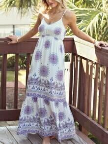 White Circle Print High Waist Ruffle Hem Cami Dress