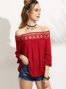 Red Crochet Insert Off The Shoulder Top