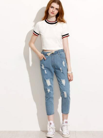 Blue Vertical Striped Ripped Drawstring Waist Jeans