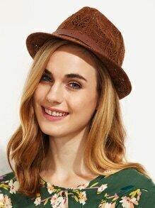 Coffee Wavy Strap Trim Hollow Fedora Hat
