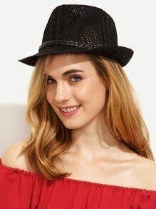 Black Braided Strap Trim Hollow Fedora Hat