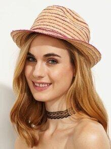 Striped Bow Trim Straw Fedora Hat