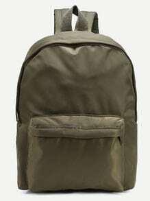 Olive Green Zip Closure Nylon Backpack