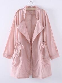 Pink Asymmetric Elastic Waist Pocket Coat