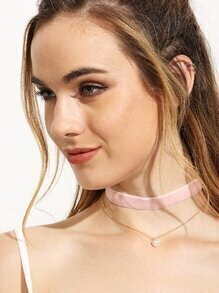 Two-layer Pearl Pendant Choker Necklace