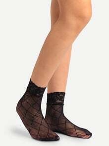 Black Crisscross Hollow Mesh Lace Ankle Socks