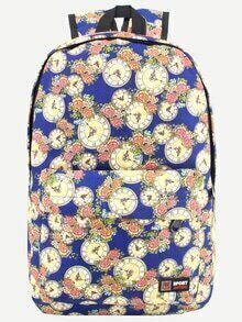 Blue Rose and Clock Print Canvas Backpack