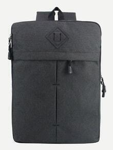 Black Zip Closure Square Canvas Backpack