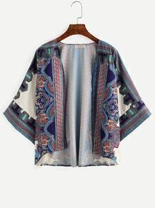Blue Symmetrical Retro Print Kimono