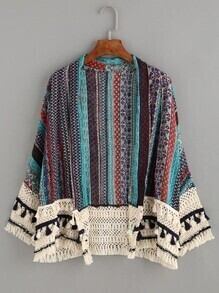 Multicolor Tribal Print Tassel Crochet Trim Kimono