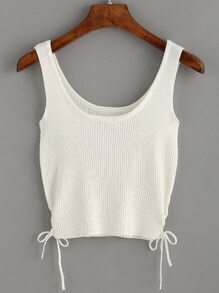 White Lace Up Side Ribbed Knit Tank Top