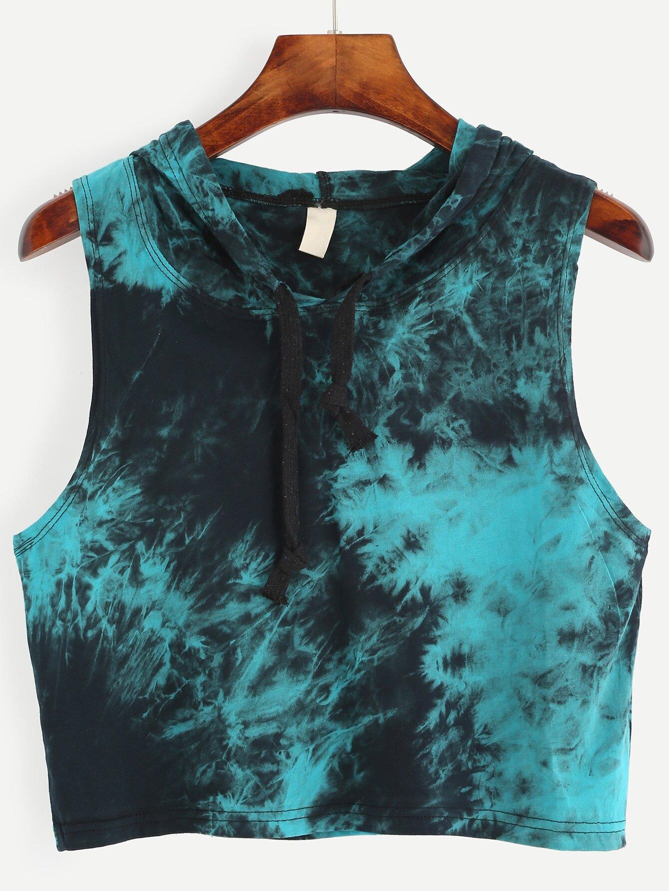 Blue tie dye print hooded crop topfor women romwe for Tie dye printed shirts