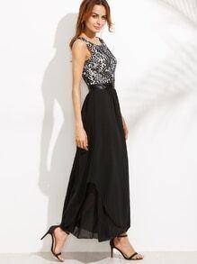 Black High Waist Lace Contrast V Back Dress