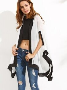 White Contrast High Low Hooded Kimono