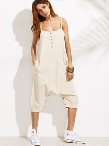 Beige Spaghetti Strap Button Front Jumpsuit