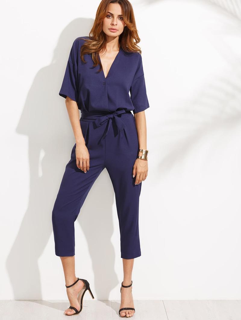 grand choix de 7800a 2d327 Combi-pantalon cache-cœur manche courte avec ceinture
