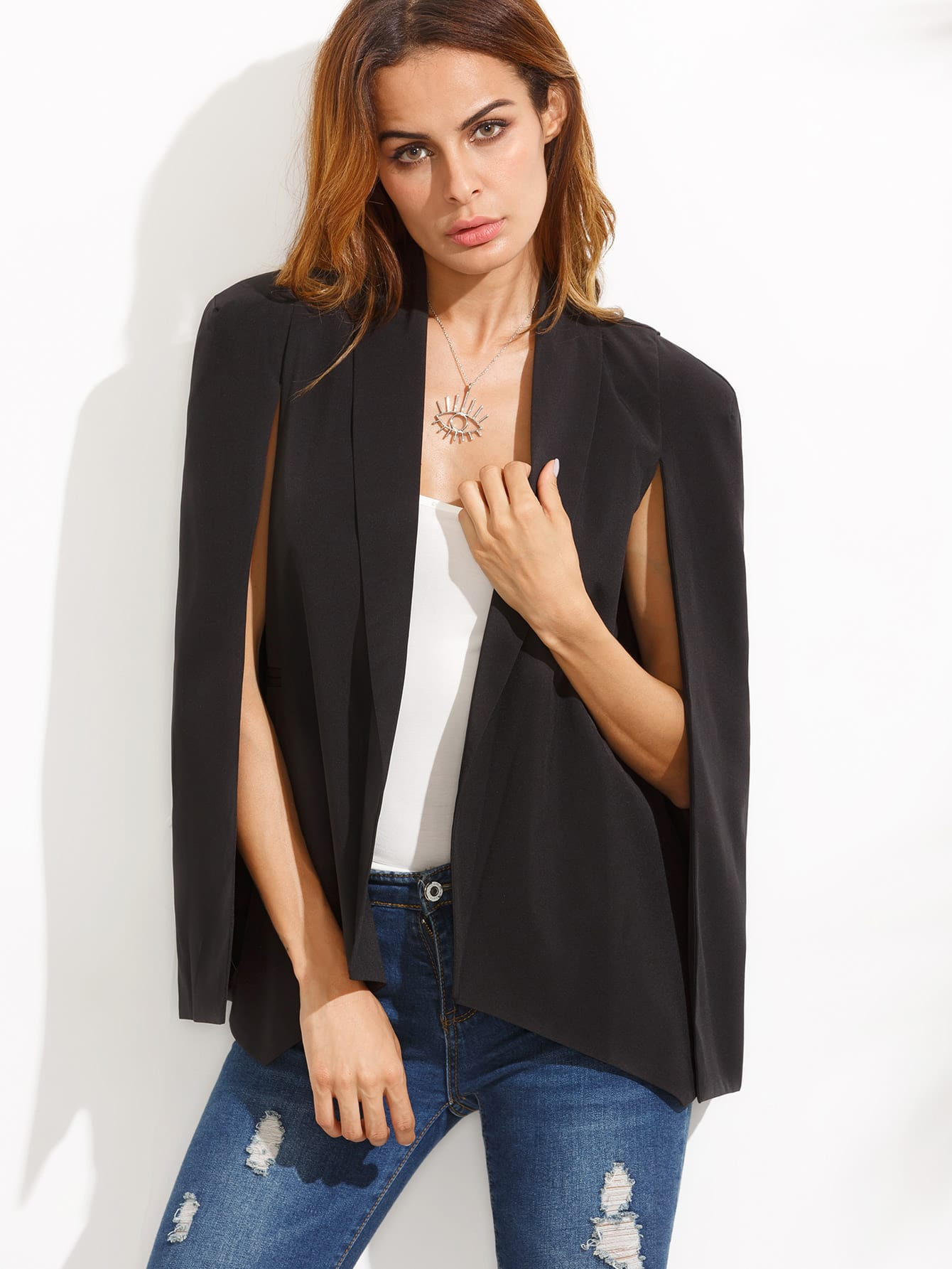 black shawl collar cape sleeve blazerfor women romwe. Black Bedroom Furniture Sets. Home Design Ideas
